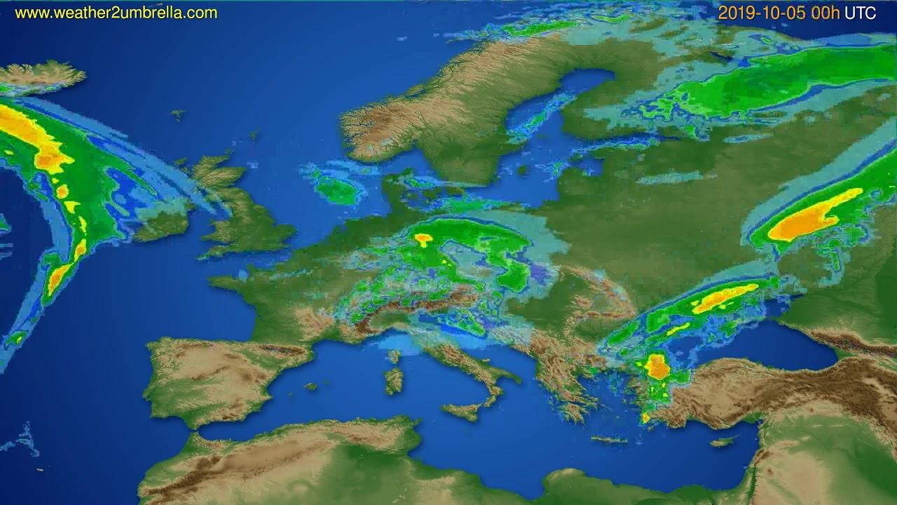 Radar forecast Europe // modelrun: 12h UTC 2019-10-04