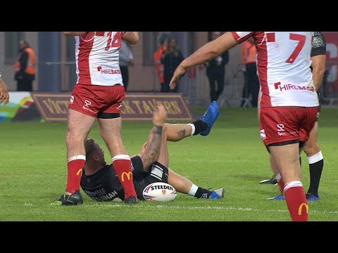 British rugby player punches dislocated kneecap back into place and carries on with the game.