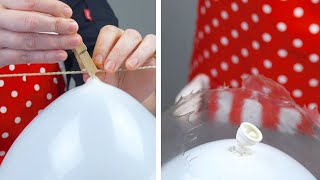It's Magic! Hang A Balloon On A Clothesline & See What Happens! | Edible Snow Globe