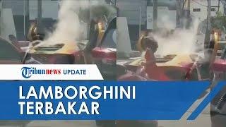 Viral! Lamborghini yang Dikemudikan Wanita Terbakar di Surabaya