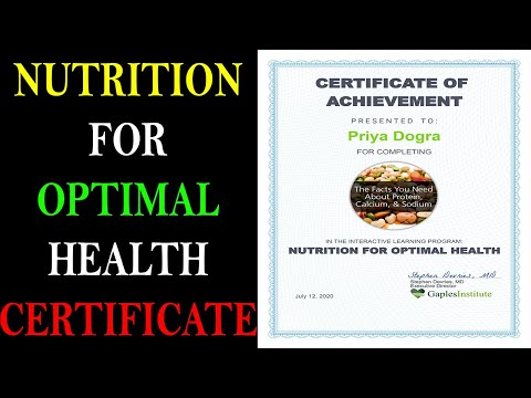 NUTRITION FOR OPTIMAL HEALTH CERTIFICATE - YouTube