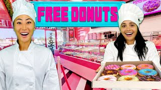 WE OPENED A FREE DONUT SHOP!!