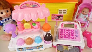 Ice cream shop and baby doll cash register play Doli house