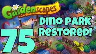 GARDENSCAPES - Gameplay Walkthrough Part 75 -  Jurassic Park Area Day 5 Dino Area Restored