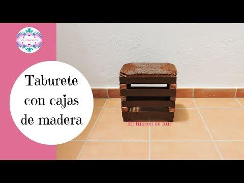 TABURETE CON CAJAS DE MADERA