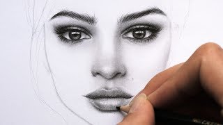 Drawing and Shading a Female Face with Graphite Pencils - Portrait of Emily Ratajkowski