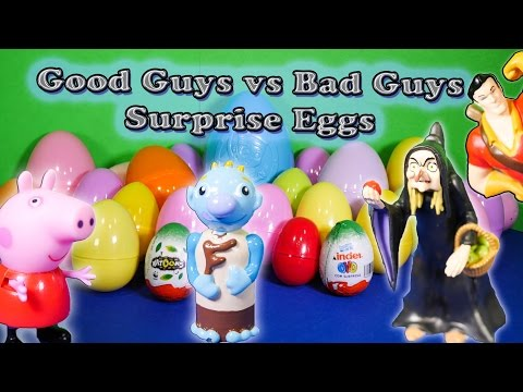 SURPRISE EGGS Good Guys vs Bad Guys Kinder Surprise Eggs Toys Video