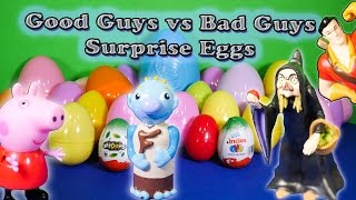 SURPRISE EGGS Good Guys vs Bad Guys Kinder Surprise Eggs Toys Video