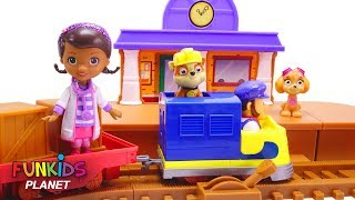 Learn Colors Videos For Kids: Paw Patrol Skye & Chase Ride Adventure Bay Train with Doc Mcstuffins