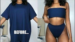 DIY High Waisted Bikini Set From A T-Shirt!! | T-Shirt Transformation