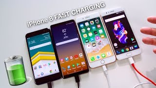 Apple iPhone 8 Plus Fast Charging vs Samsung Galaxy Note 8 vs OnePlus 5 vs HTC U11! (60 min)