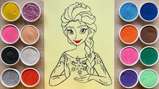 TÔ MÀU TRANH CÁT CÔNG CHÚA ELSA BĂNG GIÁ FROZEN - Sand Painting Elsa Princess (Chim Xinh)