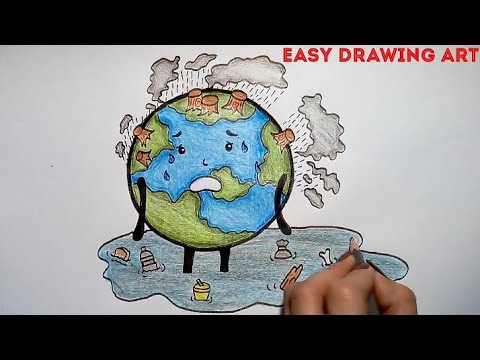 how to draw polluted earth poster || save earth save environment drawing for kids