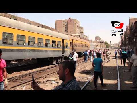خروج قطار عن القضبان بإمبابة