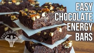 10-minute Easy Chocolate Energy Bars / Barras de Energia en 10 Minutos
