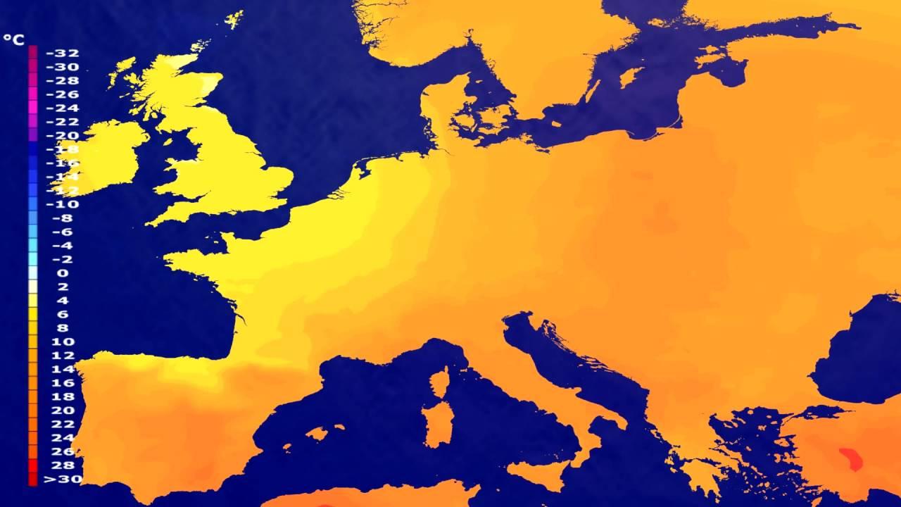 Temperature forecast Europe 2016-06-23