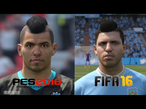 PES 2016 vs FIFA 16 Manchester City Faces Comparison