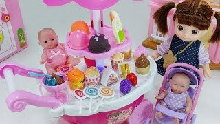 Baby Doll Ice Cream Cart Car And Cash Register Food Shop Toys Play   토이몽