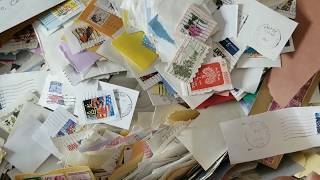 Thirty Pound Box of Used Postage Stamps-Winners Announced (junk journaling)