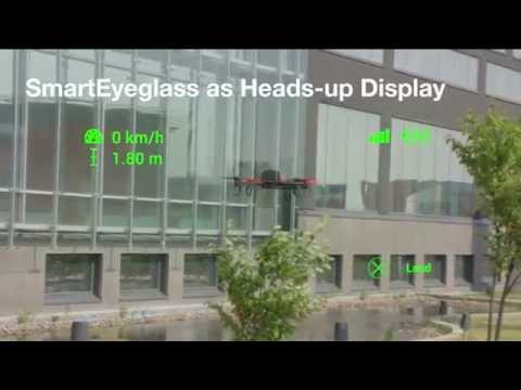 SmartEyeglass as heads-up display for an AR experience with Parrot drones