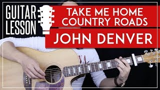 Take Me Home Country Roads Guitar Tutorial - John Denver Easy Guitar Lesson 🎸 |No Barre Chords|