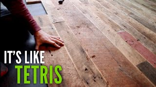 DIY BARNWOOD FLOORING @ The Off Grid Cabin - EP #16
