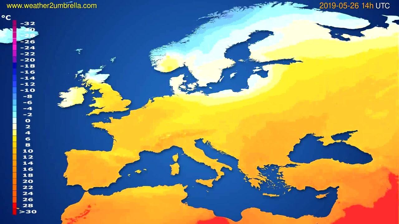 Temperature forecast Europe // modelrun: 12h UTC 2019-05-23