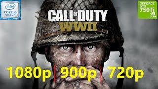 Call of Duty WWII GTX 750 Ti 4GB 1080p, 900p, 720p