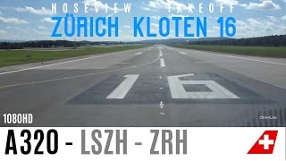 preview picture of video 'A321 Noseview Takeoff Runway 16 in Zürich Kloten LSZH'