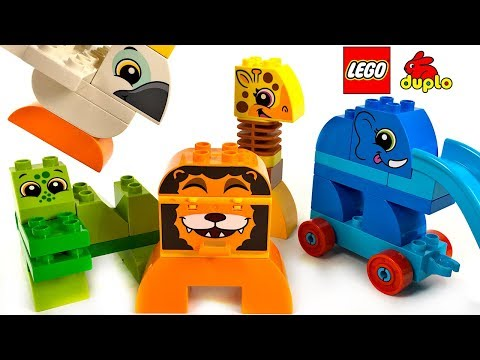 LEGO DUPLO MY FIRST ANIMAL BRICK BOX WITH ELEPHANT GIRAFFE LION CROCODILE &  COCKATOO - UNBOXING
