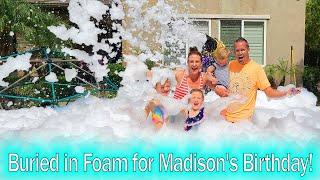 Buried Alive in Foam!!! Madison's Crazy 6th Birthday! Bumper Cars and Foam Party!!!