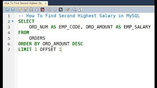 How To Find Second Highest Salary in MySQL