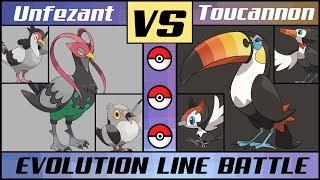 Toucannon  - (Pokémon) - TOUCANNON vs UNFEZANT - Bird Evolution Battle (Pokémon Sun/Moon)