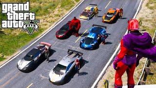 Super CARS Сhallenge SpiderMan and Superheroes Magneto GTA V MODS ! Потрясающий вызов на рампе !