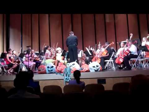 Nicolas conducting members of the Greater Youth Symphony Symphonia Orchestra for our annual Halloween program.