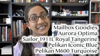 Mailbox Goodies & Impressions Pelikan Iconic Blue & Turquoise, Sailor Royal Tangerine