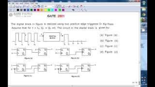 GATE 2001 ECE Design of sequential circuit using positive edge triggered D flip flops