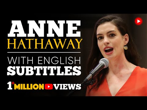 ENGLISH SPEECH   ANNE HATHAWAY: Paid Family Leave (English Subtitles)