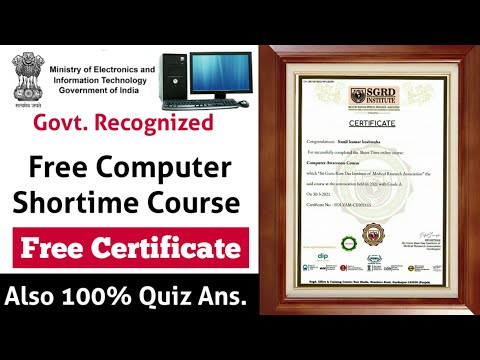 Govt. Recognized Free Computer Course With Certificate 2021 ...
