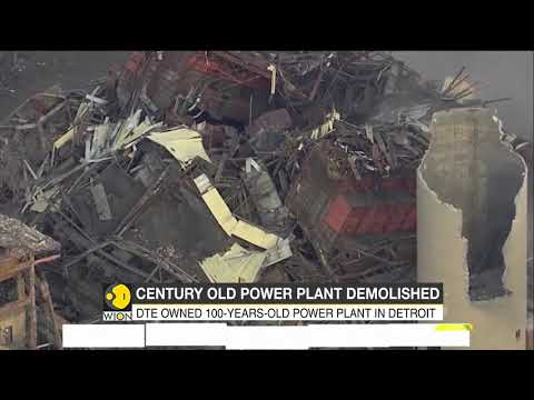 Century old power plant demolished in Detroit city in U.S.
