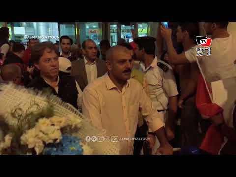 هشام حطب وثروت سويلم يستقبلان بعثة مصر الأولمبية في مطار القاهرة عقب عودتها من الأرجنتين