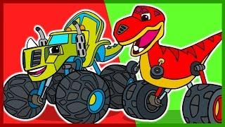 Мультик. Раскраска. Вспыш и чудо-машинки. Динозавры. Учим цвета. Blaze. Learn Colors.