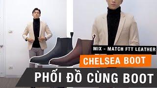Phối đồ áo da cùng Chelsea Boot