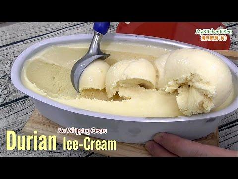 Video Durian Ice-Cream ada Whipping Cream (dengan mesin) | MyKitchen101en