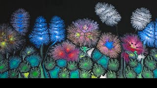 #132 🌺 SECRET GARDEN, ACRYLIC POURING FRACTALS DANDROIDS FLOWERS.