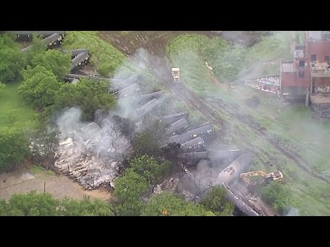 No one was hurt when a Union Pacific train carrying ethanol derailed in a residential area in Fort Worth and caught fire. (April 24)