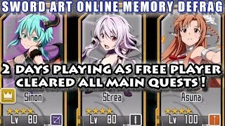 2 Days As Free Player (Asuna Lv100) Cleared All Contents!! (Sword Art Online Memory Defrag)