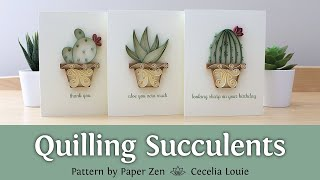 Quilling Succulents Greeting Card - Pattern And Tutorial - Trailer