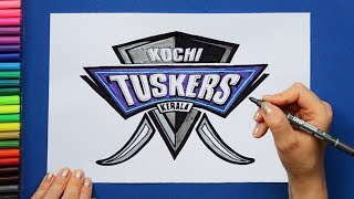 How to draw and color Kochi Tuskers Logo - IPL Team Series