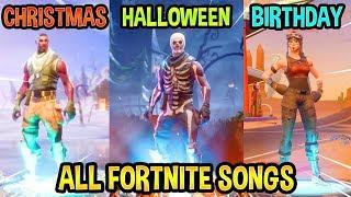 ALL FORTNITE THEME SONGS! 😭 Part.2 (Season 1, Christmas, Halloween, Birthday)